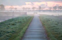 Radfahrende Straße auf niederländischem Ackerland Lizenzfreie Stockfotografie