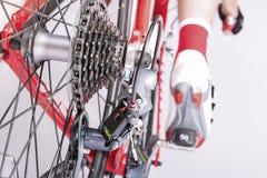 Radfahrenideen Hinteres Derailleur und Kassette Sprokets zusammen mit Lizenzfreie Stockbilder