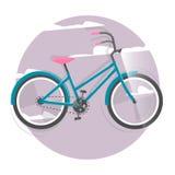 Radfahrenkonzept Fahrrad Helle Illustration des Vektors des Fahrrades Modische Art für Grafikdesign, Logo, Website, Social Media, Stockbild