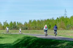 Radfahrenreise der Sommerfamilie Ausgabe des Freizeitfreiens lizenzfreie stockfotos