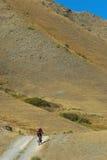 Radfahrer auf landwirtschaftlicher Straße Stockfotos