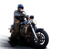 Radfahrer auf Motorrad Stockfoto