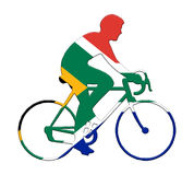 Radfahrer in den südafrikanischen Flaggenfarben stockfotos