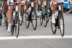 Radfahrer an der Ankunft Stockfotos