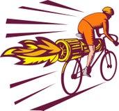 Radfahrer, der Düsentriebwerkfahrrad läuft Stockfotos