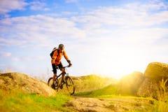 Radfahrer, der das Fahrrad auf Morgen-Gebirgspfad reitet Stockbild