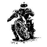 Radfahrer, der ein Motorrad reitet lizenzfreie abbildung