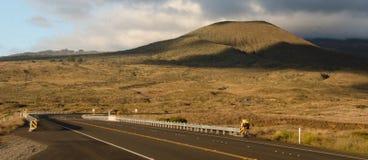 Radfahrer, der nahe Sonnenuntergang auf Weg 200 fährt Stockbilder