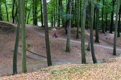 Radfahrer, der sich vorbereitet, auf das Fahrrad im Park zu springen stockbild