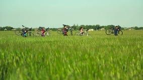 Radfahrer, die Fahrräder durch hohes Gras tragen stock video