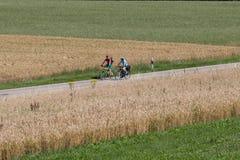 Radfahrer in einer Abstandsansicht an einem sonnigen Tag des Sommers Lizenzfreie Stockbilder