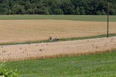 Radfahrer in einer Abstandsansicht an einem sonnigen Tag des Sommers Stockfoto
