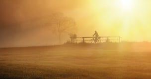 Radfahrer im Nebel Lizenzfreie Stockbilder
