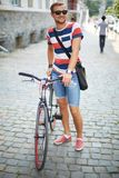 Radfahrer im Park Lizenzfreie Stockfotos