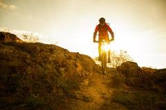Radfahrer im Rot, welches das Fahrrad auf Autumn Rocky Trail bei Sonnenuntergang reitet Extremer Sport und radfahrendes Konzept E Lizenzfreies Stockbild