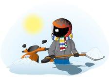Radfahrer mit einem Roller im Schnee Stockbilder