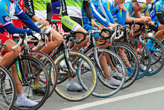 Radfahrer nach einem Rennen Lizenzfreies Stockbild