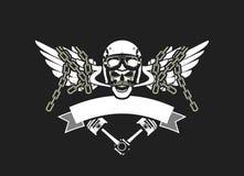 Radfahrer-Schädel-Emblem Lizenzfreie Stockfotografie