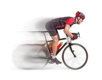 Radfahrer sprintet auf einem Fahrrad Stockbild