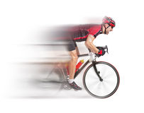 Radfahrer sprintet auf einem Fahrrad Stockfoto