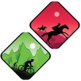 Radfahrer- und Pferdereiterschattenbild im Sonnenaufgang Stockfoto