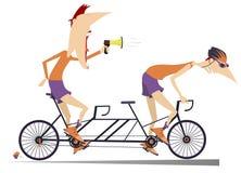Radfahrer und Trainer reitet ein lokalisiertes Tandemfahrrad stock abbildung