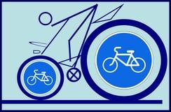 Radfahrer- und Verkehrsschild Lizenzfreies Stockbild