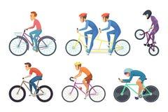Radfahrerfahrverschiedene Fahrräder Lustiges Charakterisolat auf weißem Hintergrund Stockbilder