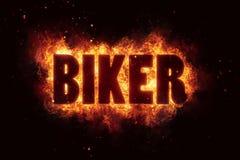 Radfahrerfeuertext-Flammenexplosion explodieren Festivalfahne Stockbild