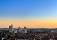 Radford flats tower block, power station behind, Nottingham. Royalty Free Stock Image