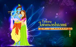 Radha и лорд Krishna на Janmashtami Стоковое фото RF