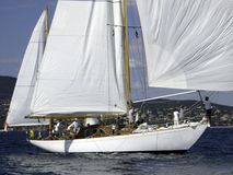 Radha. Classic marconi rigged sailing yacht Radha catching a breeze Stock Photos