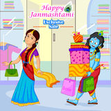 Radha and Krishna doing Janmashtami sale shopping Royalty Free Stock Image