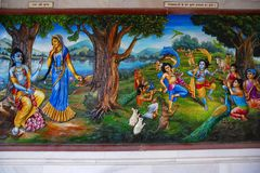 Radha Krishna in the garden with gopiya. Iskcon temple, Pune. Maharashtra Stock Images