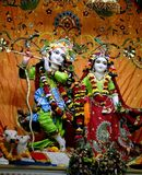 Radha Krishna Hindu God. Aesthetically decorated idols of Lord Krishna and  Radha in a temple Stock Photography