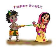 Radha Krishna Holi Greetings - el festival más colorido de la India fotografía de archivo libre de regalías