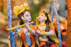 Radha and Krishna , Indian handicrafts fair at Kolkata. Radha and Lord Krishna in romantic mood, handicrafts on display during the Handicraft Fair in Kolkata Stock Image