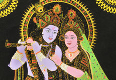 Radha and Krishna. A painted image of Hindu God Krishna and Hindu Goddesses Radha Royalty Free Stock Photo