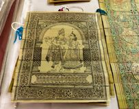 Radha Krishna Painting auf Bananen-Blatt lizenzfreie stockbilder