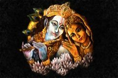 Radha and krishna playing flute, hand painted illustration Stock Photography