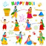 Radha Krishna playing Holi Stock Images