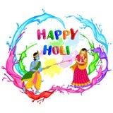 Radha Krishna playing Holi Royalty Free Stock Images