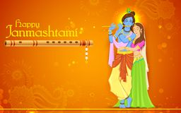 Radha and Lord Krishna on Janmashtami Stock Images