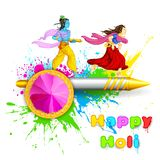 Radha and Lord Krishna playing Holi Stock Image