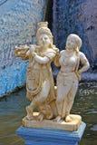 Radha och Krishna i Krishnarajsagar Arkivfoto