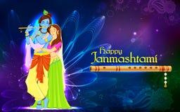 Radha och Lord Krishna på Janmashtami Royaltyfri Foto