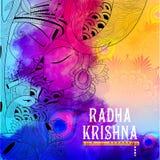Radha och Lord Krishna på Janmashtami Arkivbild