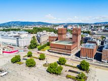Radhus City Hall, Oslo. City Hall or Radhus in Oslo, Norway. Oslo City Hall is a municipal building, houses the Oslo city council royalty free stock image