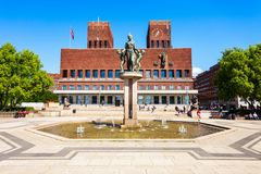Radhus City Hall, Oslo. City Hall or Radhus in Oslo, Norway. Oslo City Hall is a municipal building, houses the Oslo city council royalty free stock images