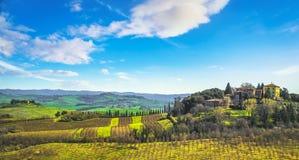 Radi wioska, toczni wzgórza, drzewa oliwne i zieleni pola, włochy Toskanii obraz stock